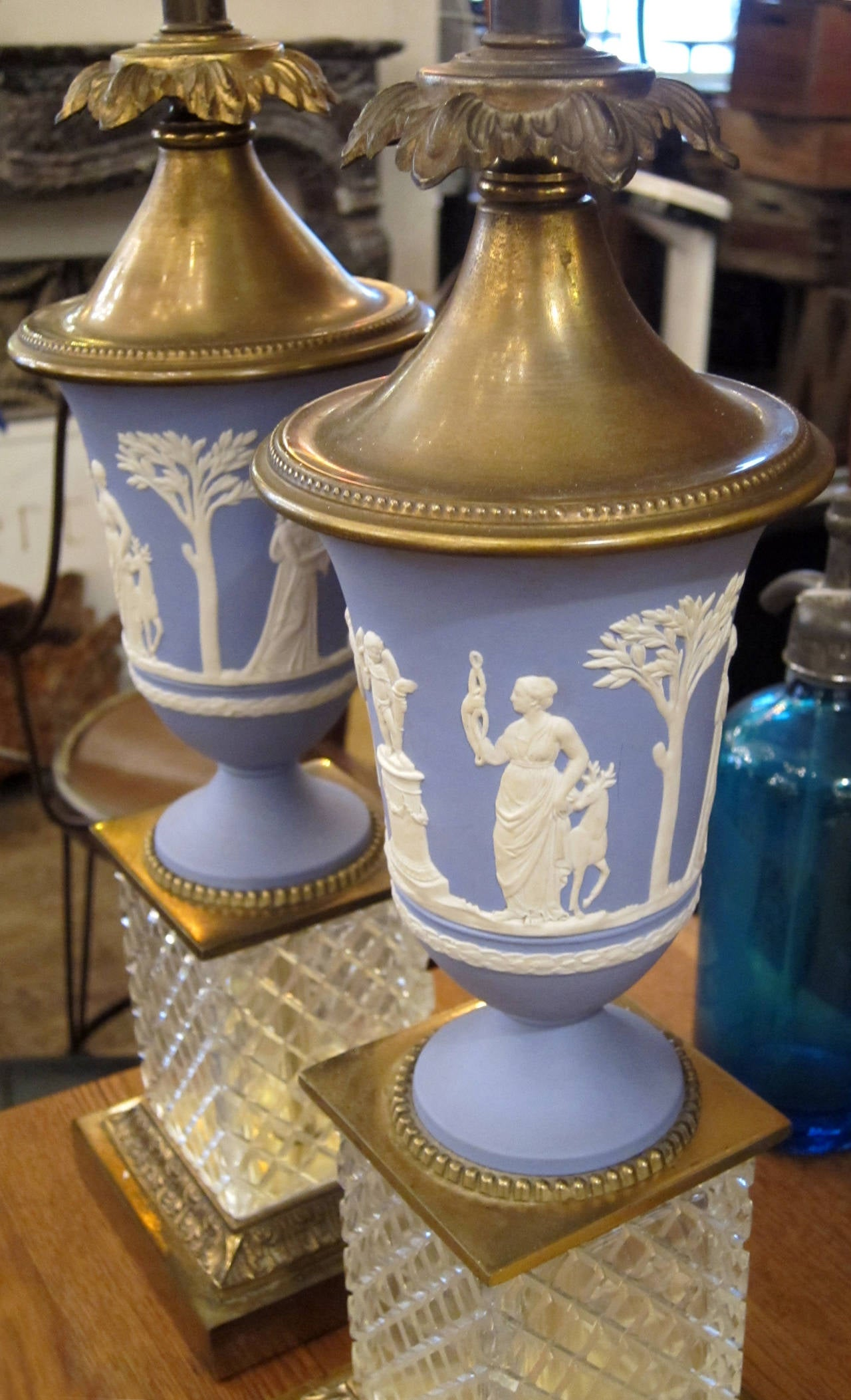 1920s Pair Of English Made Wedgewood Table Lamps With Cut