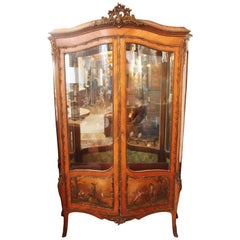 19th Century Antique Two-Door French Display Cabinet or Vitrine by Vernis Martin