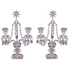 Pair of Two Arm Crystal Candelabras