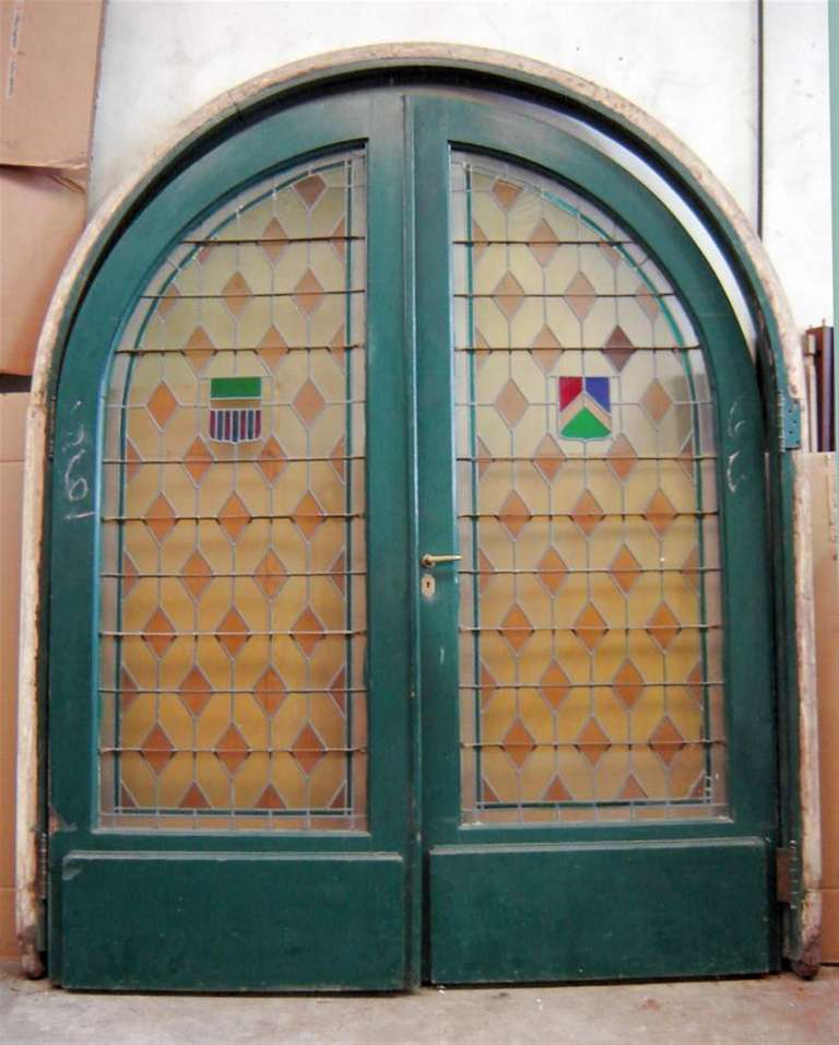 Large Pair of Arched Leaded and Stained Glass Doors 2