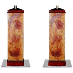1950s Pair of Mid-Century Modern French Wooden and Copper Patina Lamps