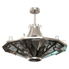 1950s French Mid-Century Modern Spaceship Light Fixture with Greek Detailing