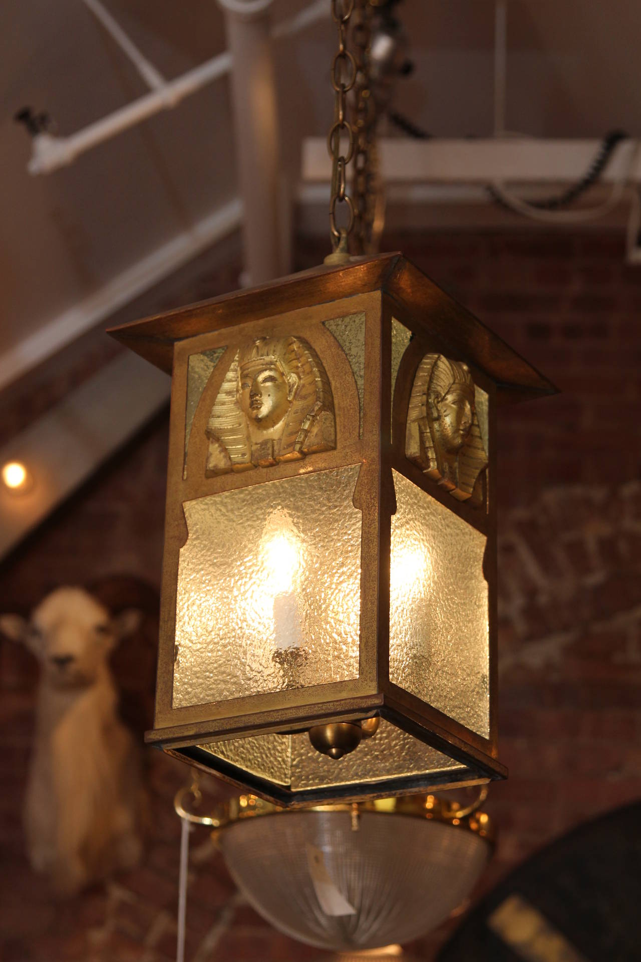 1900s Egyptian Pharaoh Revival Style Lantern With Textured Gl And Four Lights