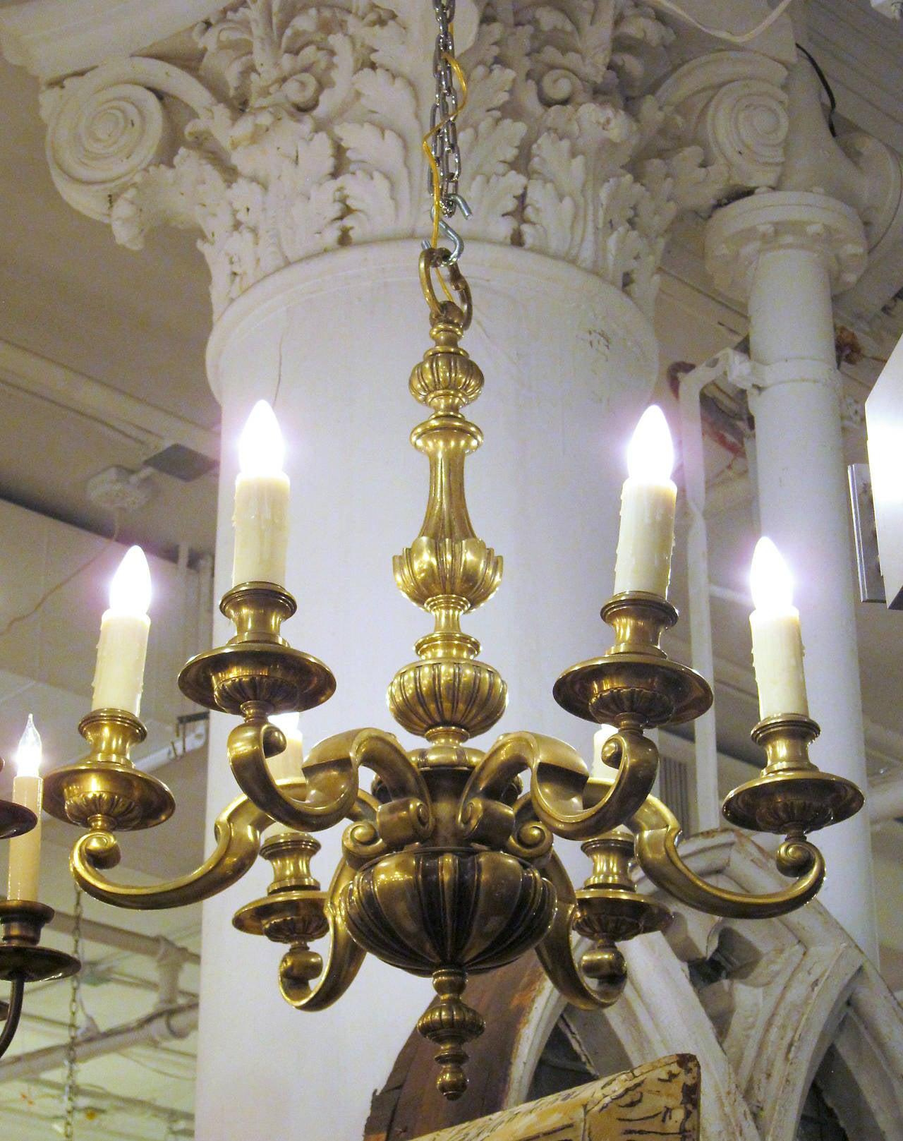 1920s English Bronze Georgian Style Six Light Chandelier