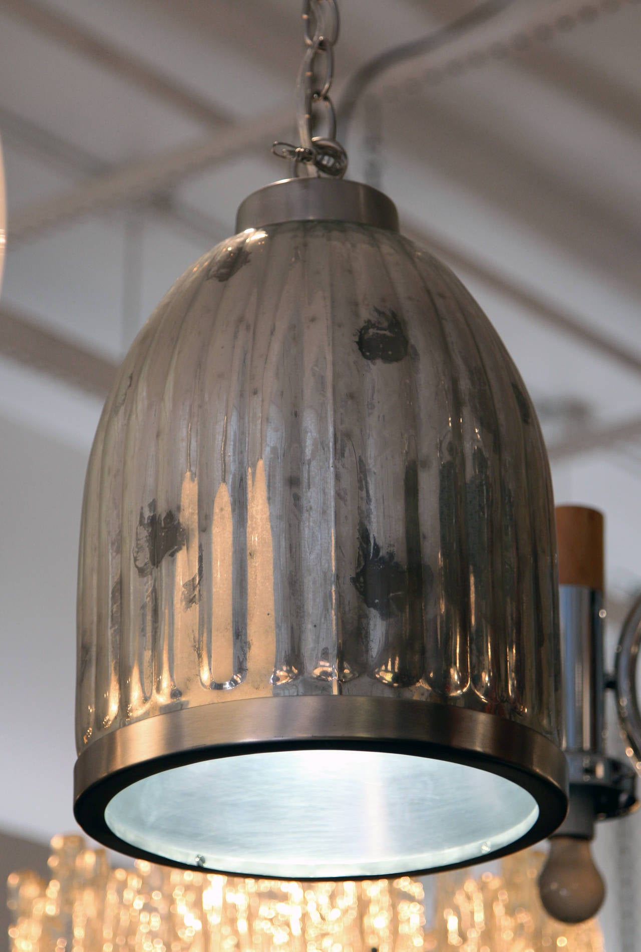 1940s Industrial Streamline Mercury Glass Pendant Fixture For Sale At 1stdibs