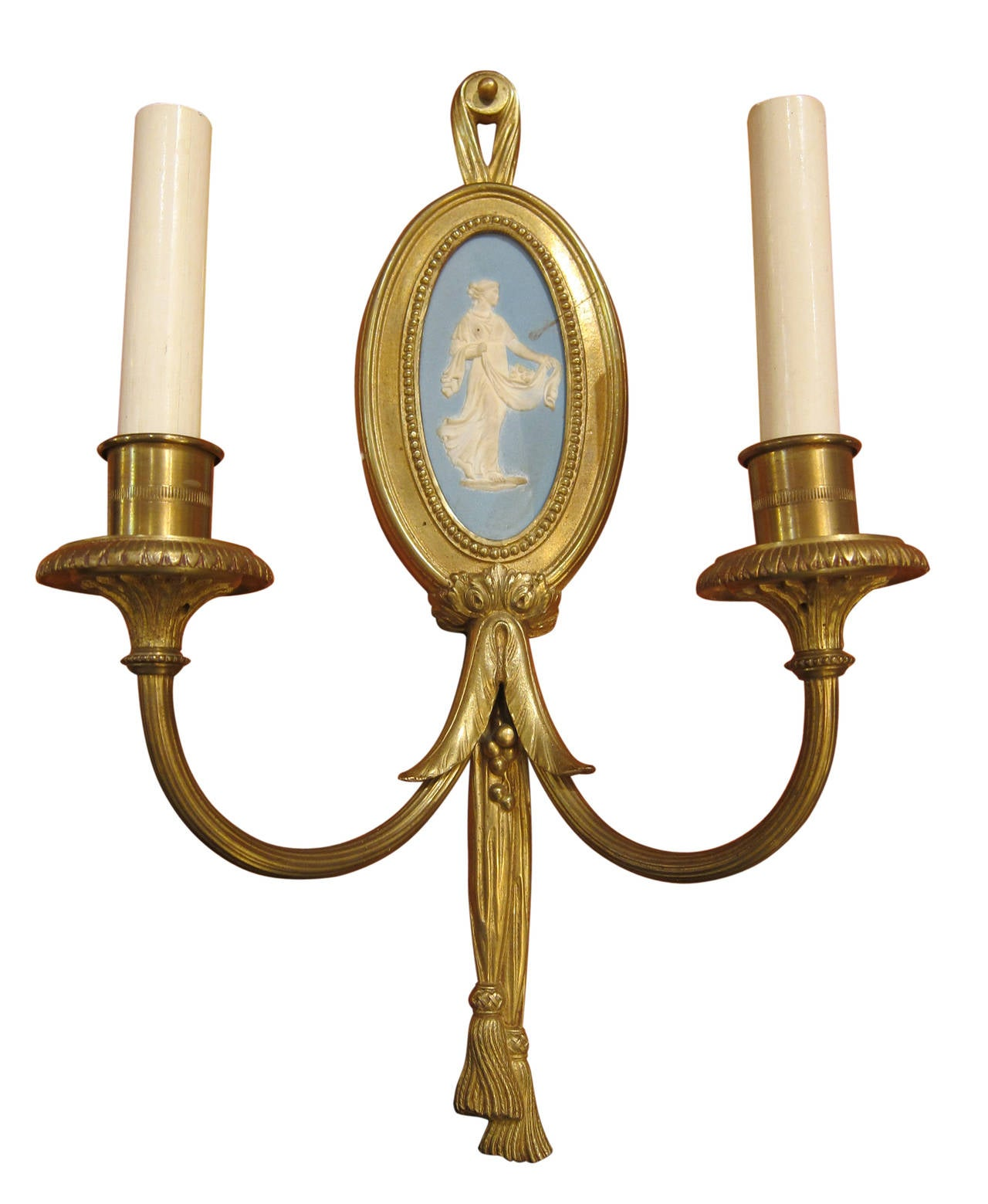 1900 Pair Of Sterling Gilded Bronze Louis XVI Two Candle Sconces With  Cameos 2