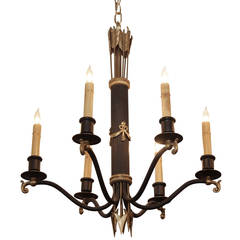 1930s French Regency Gold and Black Six-Light Chandelier with Swags and Spears