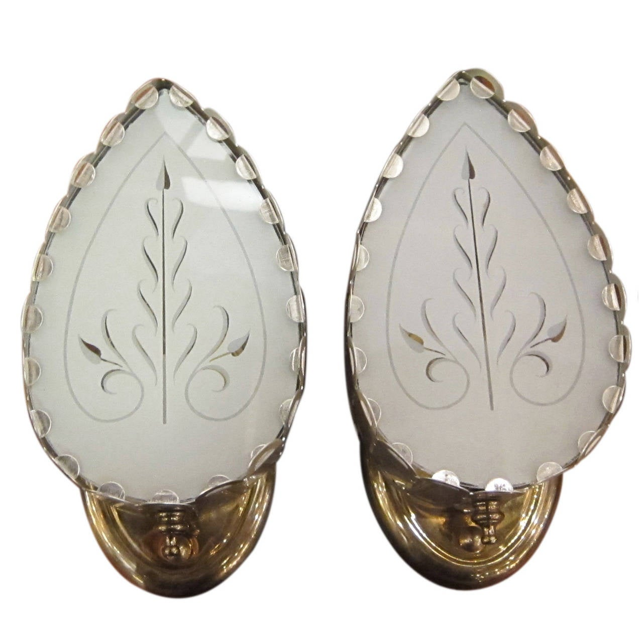 1940s Pair of Spade Shaped Sconces with Etched and Frosted Glass