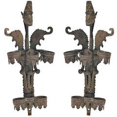 Pair of Bronze Dragon Torch Sconces