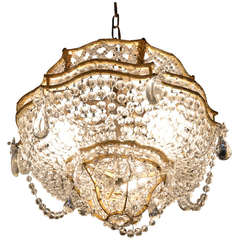 Lovely Dore Bronze and Crystal Flush Mount Basket Fixture