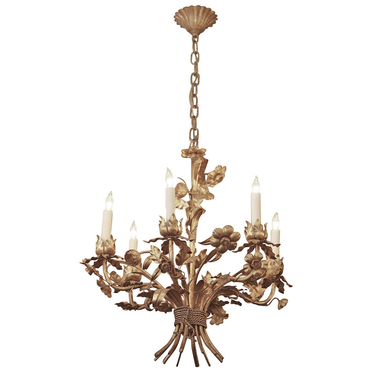 1950s Italian Gilt Metal Floral Six-Light Chandelier with Wheat and Ropes
