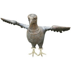 1900s Gothic Revival Bronze Eagle Sculpture with Claw Feet