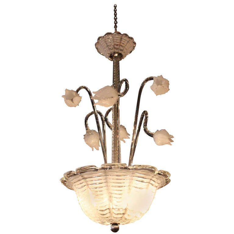 Murano hand blown glass chandelier with floral accents at Blown glass chandelier