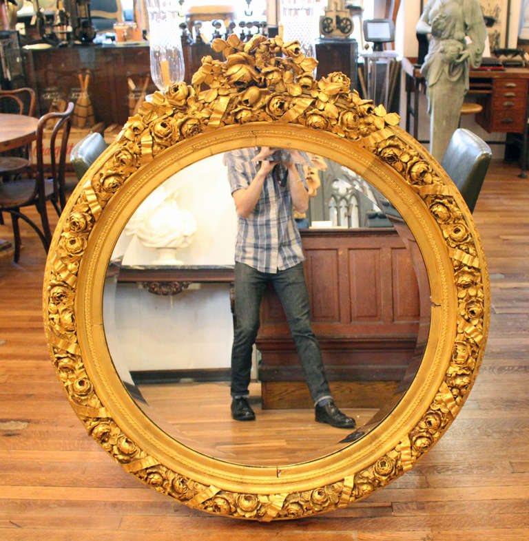 Large Ornate Round Gold Gilded Framed Beveled Glass Mirror In Excellent Condition For New