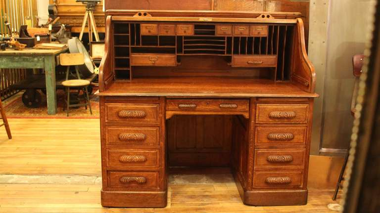 American Antique Oak Roll Top Desk with Raised Panels; S-Roll Style For Sale - Antique Oak Roll Top Desk With Raised Panels; S-Roll Style At 1stdibs