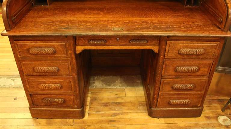 Antique Oak Roll Top Desk with Raised Panels; S-Roll Style For Sale 2