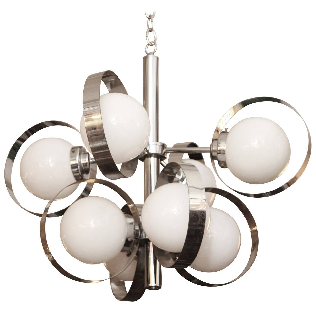 1960s Italian Mid-Century Modern Chrome and Glass Eight-Light Pendant