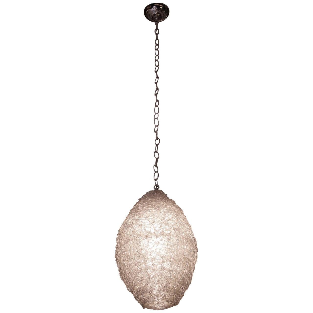 1960s Italian Mid-Century Modern Spun Acrylic 'Spaghetti' Oval Pendant Light