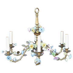 Louis XVI Style Bronze French Pastel Porcelain Floral Chandelier with Six Lights