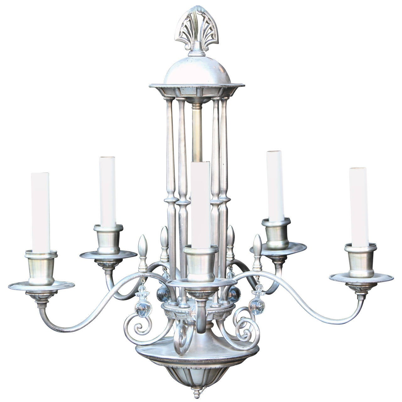 Items Similar To Lighting Rustic Chandelier Vintage 1920 S: 1920s Antique Silvered Bronze Chandelier With Five Lights