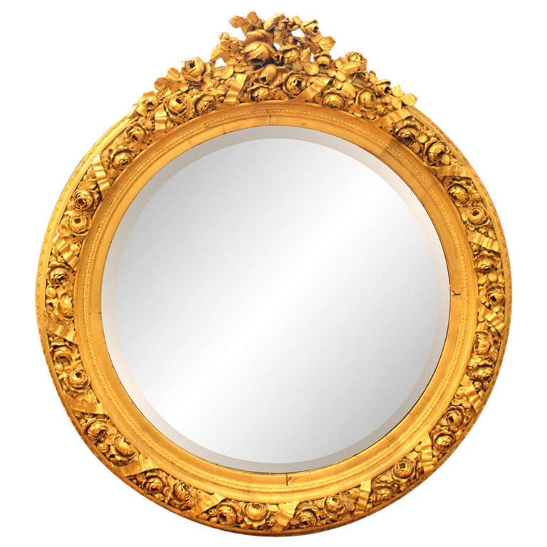 Large ornate round gold gilded framed beveled glass mirror for Large round gold mirror