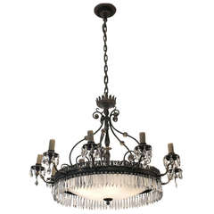 Elegant Bronze and Crystal Ten-Arm Chandelier
