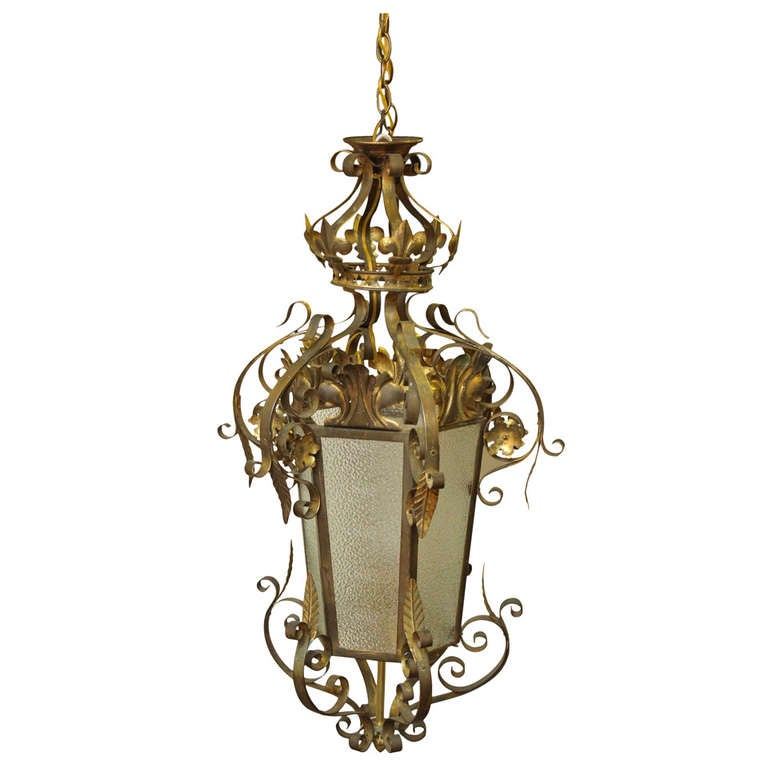 wrought iron vestibule pendant light for sale at 1stdibs. Black Bedroom Furniture Sets. Home Design Ideas