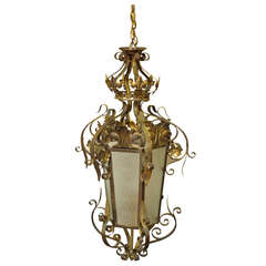 1920s Wrought Iron Vestibule Pendant Lantern with Textured Glass