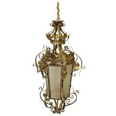 1920s Wrought Iron Vestibule Pendant Lantern with Textured Glass