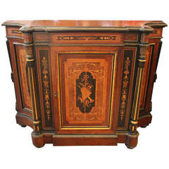 Renaissance American Rosewood and Bronze Credenza with Bird's-Eye Maple Interior