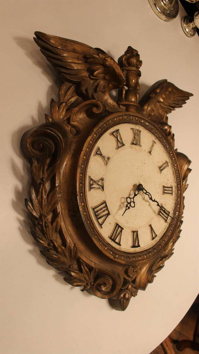 Early 1900s Bronze Plated Clock With Eagle Wings Roman