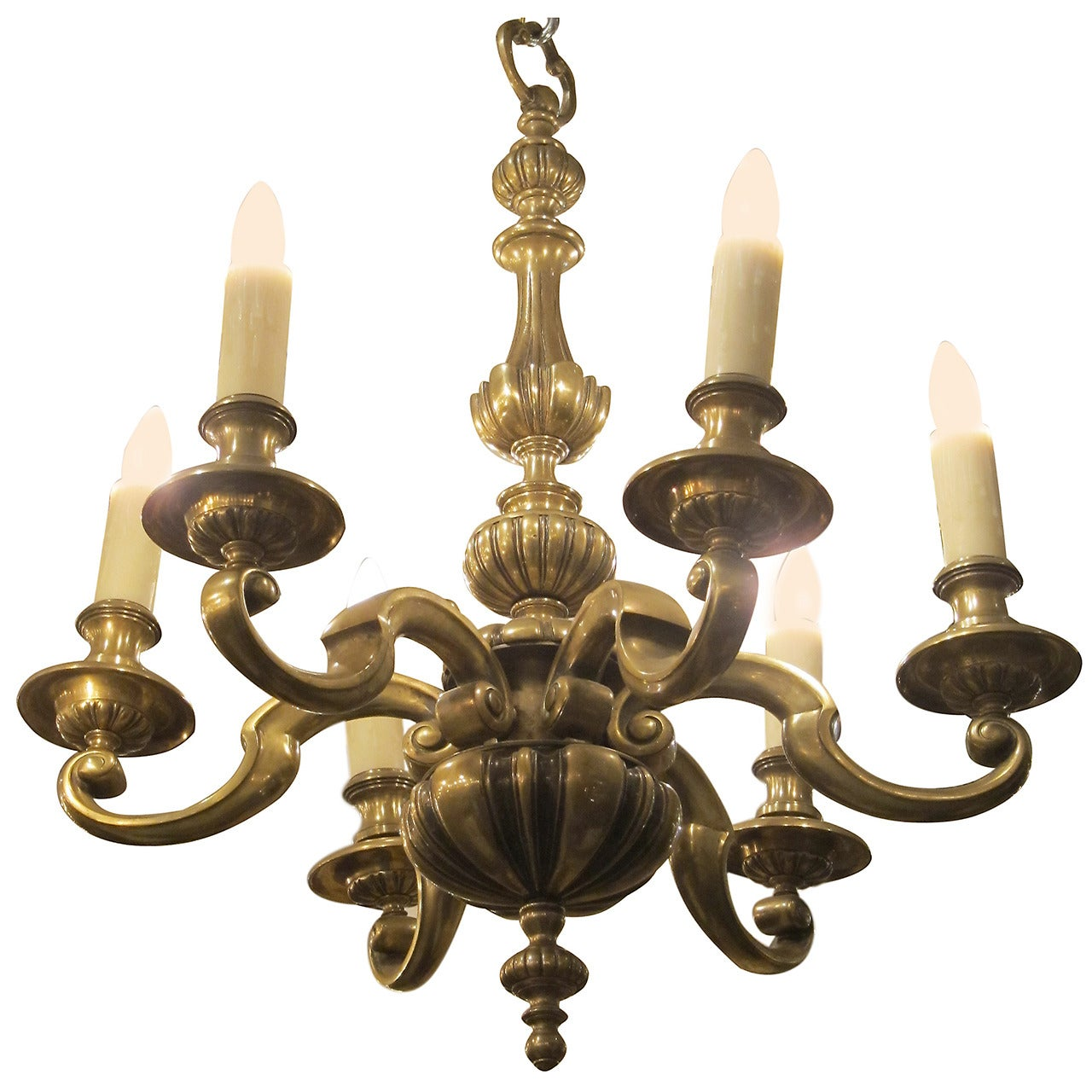 1920s English Bronze Georgian Style Six-Light Chandelier
