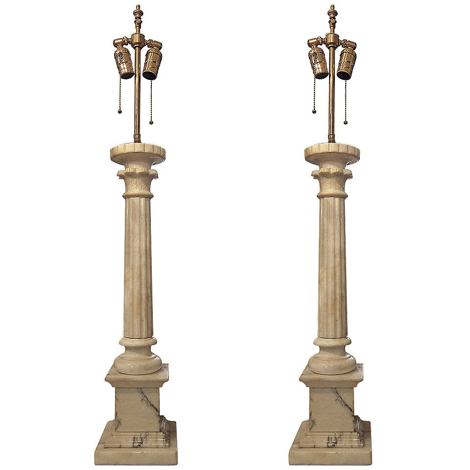 1920s Pair of French Neoclassical Alabaster Column Table Lamps