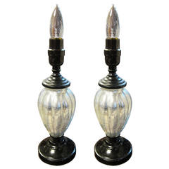 1930s Pair of Mercury Glass Table Lamps with Bakelite Base and Neck