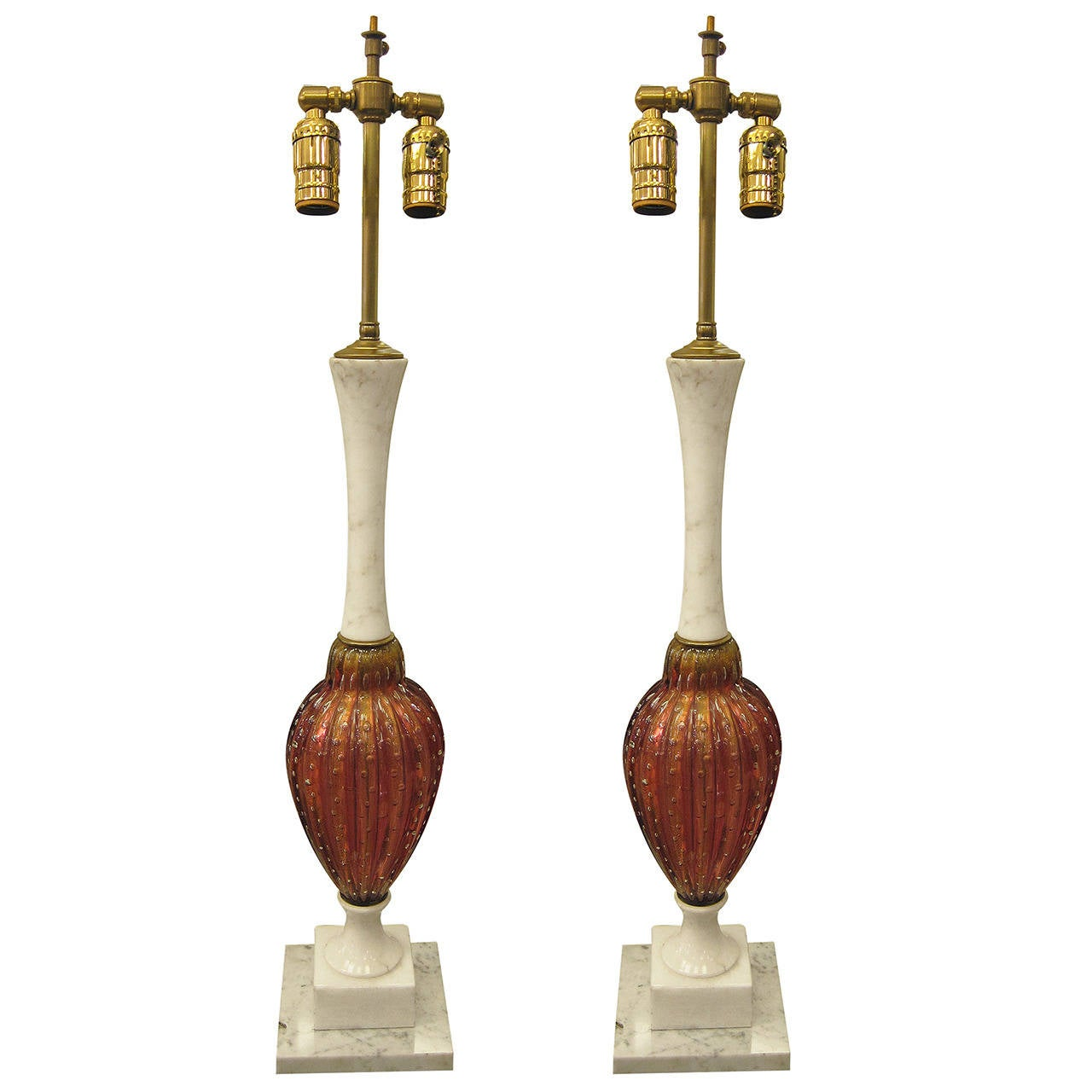 1940s Italian Pair of Pink Murano Glass with Alabaster Mounts Table Lamps