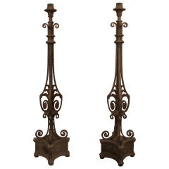 1920s Pair of Exterior Stoop or Patio Zinc Plated Iron Torchiere Lights