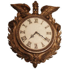 Early 1900s Bronze Plated Clock with Eagle Wings Roman Numerals and Wreath Motif