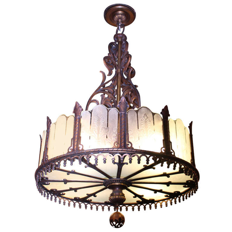 1920 Heavy Large Art Deco Bronze Chandelier from Texas with Etched Glass For Sale