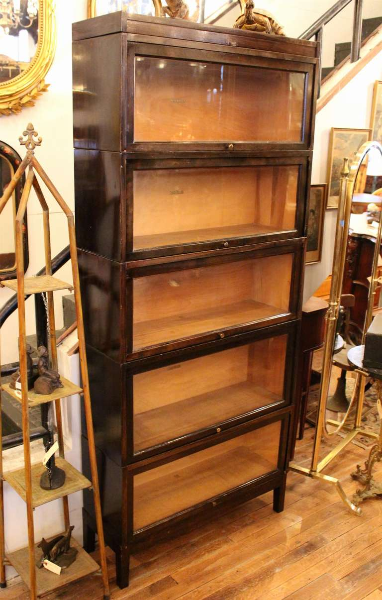 Shaw Walker Antique Dark Brown Barrister Bookcase At 1stdibs