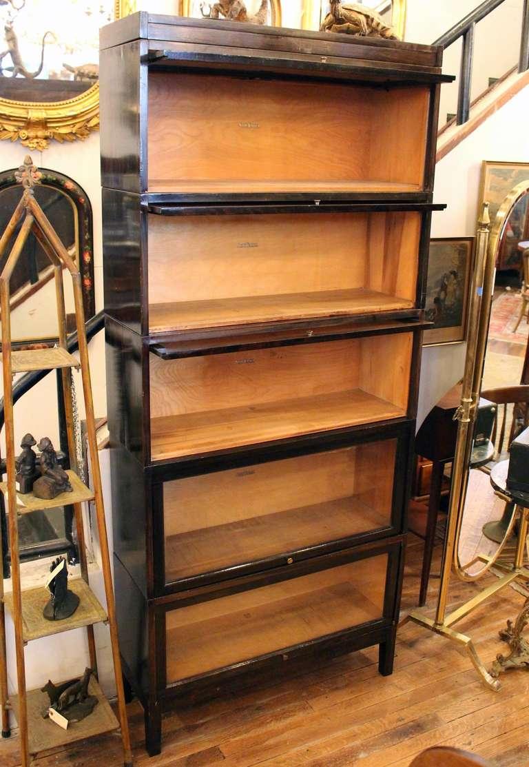 Shaw Walker Antique Dark Brown Barrister Bookcase At 1stdibs