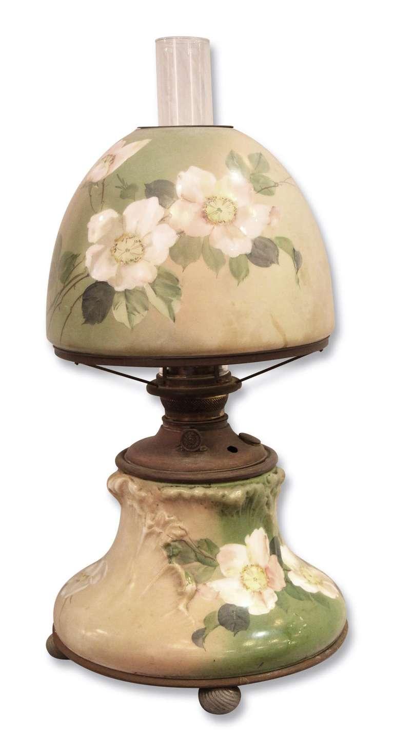 beautiful floral hurricane lamp for sale at 1stdibs. Black Bedroom Furniture Sets. Home Design Ideas