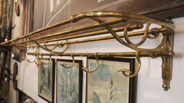 Vintage Ornate Brass Train Style Shelf And Coat Rack At