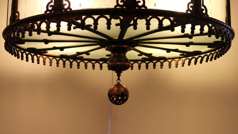 1920 Heavy Large Art Deco Bronze Chandelier from Texas with Etched Glass For Sale 1