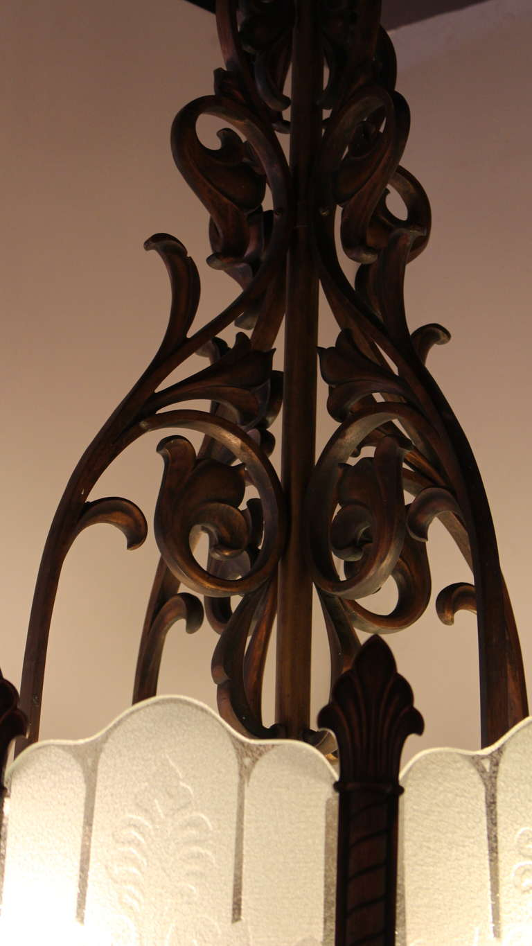 20th Century 1920 Heavy Large Art Deco Bronze Chandelier from Texas with Etched Glass For Sale