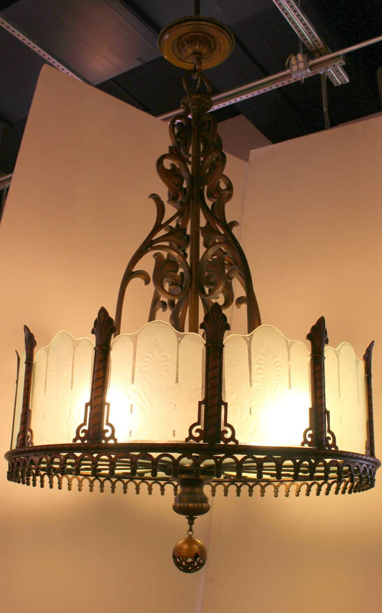 1920 Heavy Large Art Deco Bronze Chandelier from Texas with Etched Glass For Sale 2