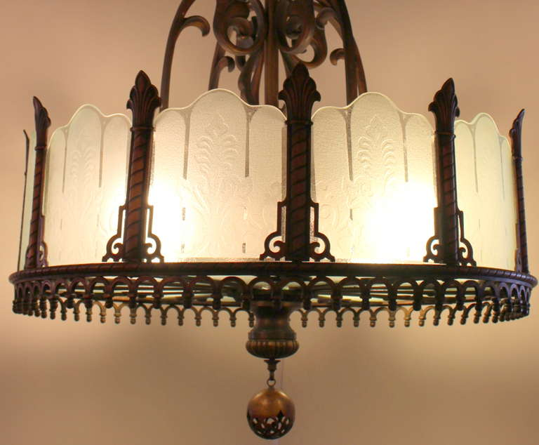 1920 Heavy Large Art Deco Bronze Chandelier from Texas with Etched Glass In Excellent Condition For Sale In New York, NY