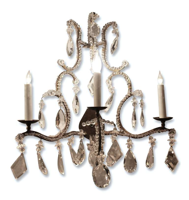 Pair of Beaded Three-Candle Crystal Sconces For Sale at 1stdibs