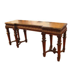 19th Century Heavily Carved Wood Console Table with Marble Top