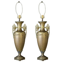 1930s Pair of Bronze Neoclassical French Urn Table Lamps with Swags and Leaves