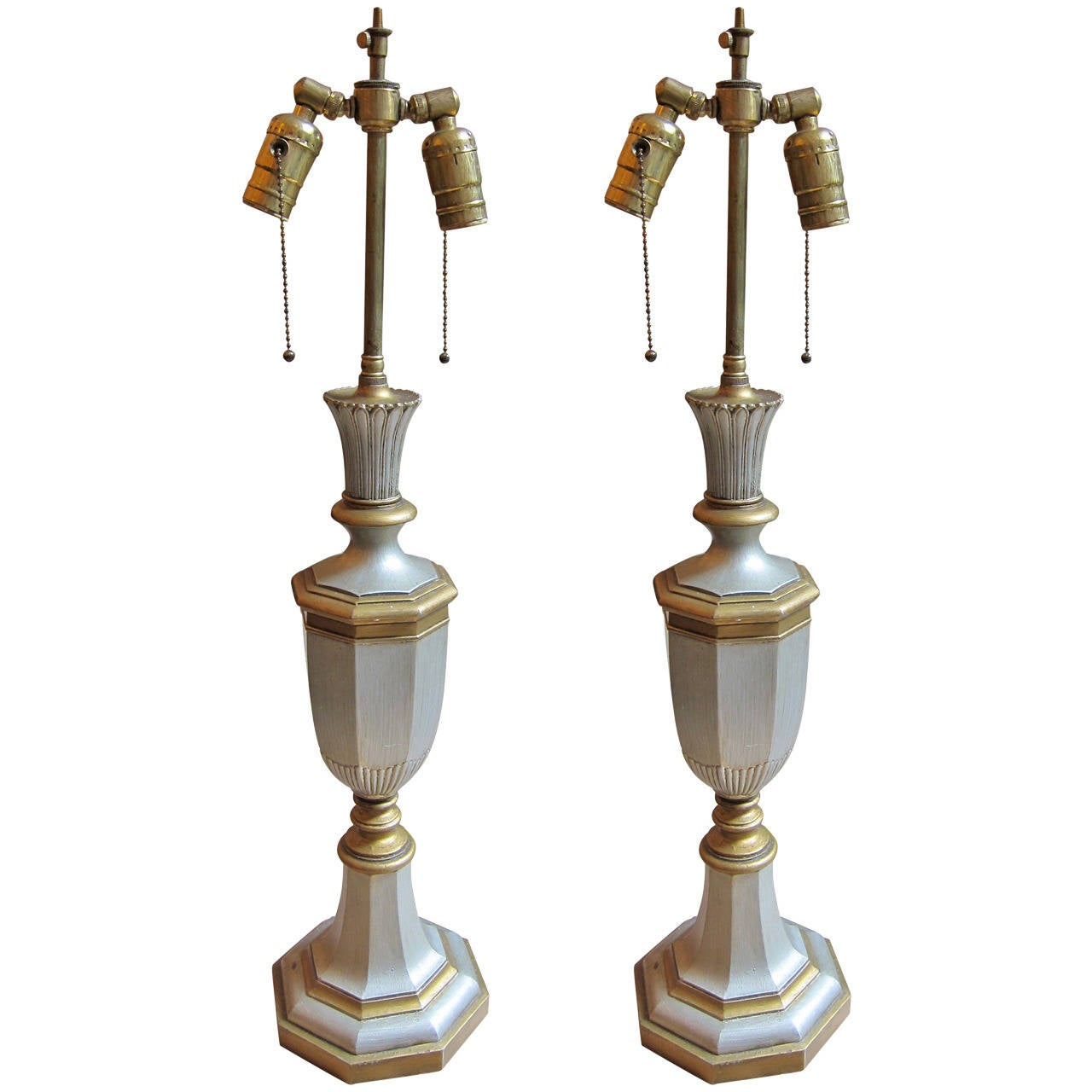 Pair Of UK Georgian Style Bronze Table Lamps With Silver And Gold Plating 19